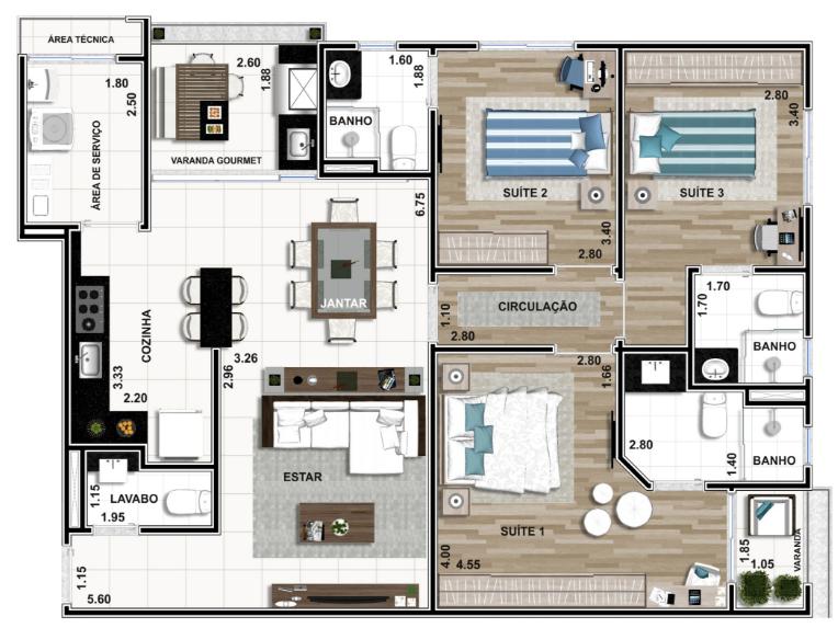 Apartamento Final 04: 109m²