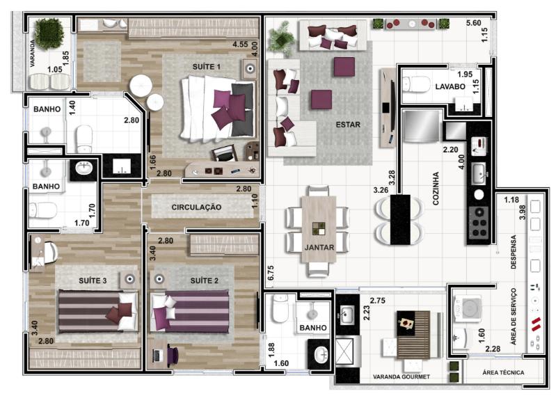 Apartamento Final 01: 114m²