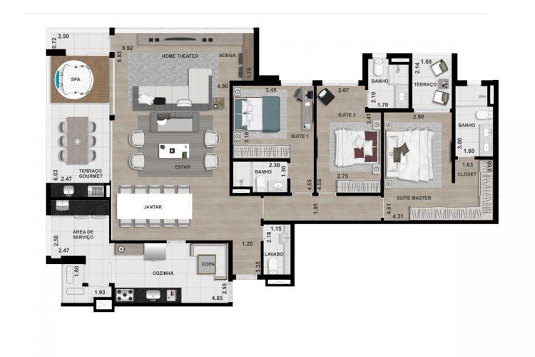 COBERTURA FINAL 3 - 174,80 m² - 3 SUÍTES