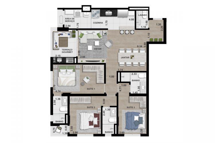 FINAL 1 - 108,25 m² - 3 SUÍTES