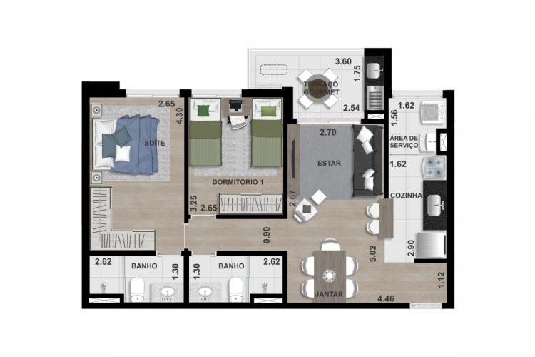 FINAL 3 - 67,00 m² - 2 DORM. (1 SUÍTE)