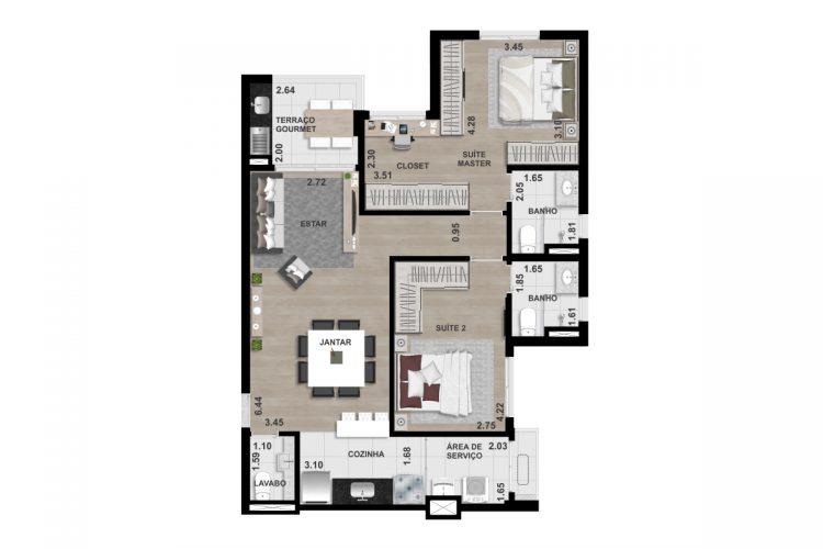 FINAL 4 - 87,80 m² - OPÇÃO 2 (2 SUÍTES)