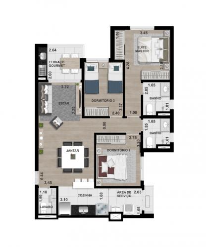FINAL 4 - 87,80 m² - OPÇÃO 1 - 3 DORM. (1 SUÍTE)