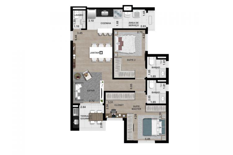 FINAL 5 - 87,80 m² - OPÇÃO 2- (2 SUÍTES)