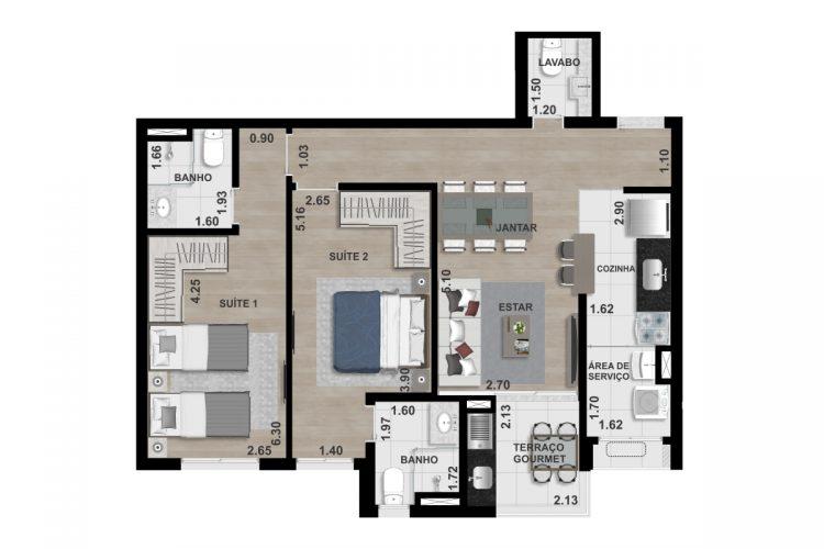 FINAL 6 - 75,00 m² -  2 SUÍTES